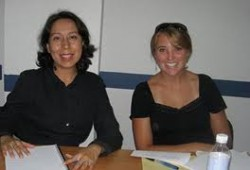 Gaby Rojas, on left
